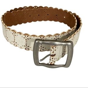 FOSSIL Leather Belt Scalloped Edges Laser Cut
